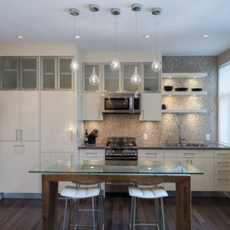 Reclaimed Wood Island and Tile Backsplash - Petite & Chic