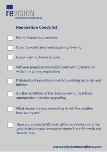 revision renovations check list