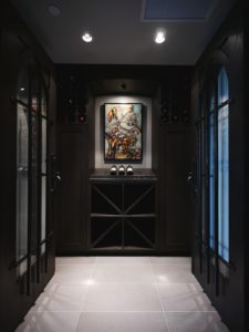 dark wood cabinetry wine cellar
